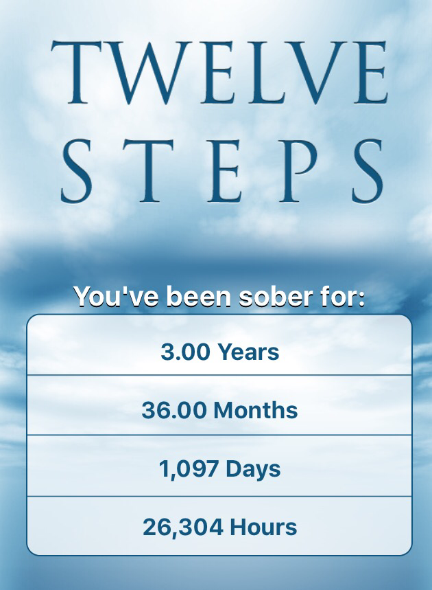 Three years sober today